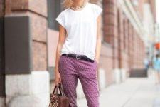 With white shirt, leopard tote and flats
