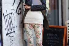 With white sweater, jacket and black pumps