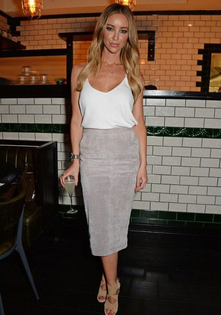 With white top and beige suede cutout shoes