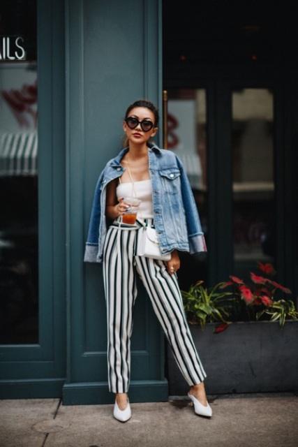 With white top, loose jacket, white mules and white bag