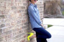 02 a chambray shirt, navy skinnies, neon yellow heels and a black bag