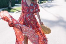 02 a red printed midi dress with short sleeves, a straw hat and white espadrilles for an ultimate boho look