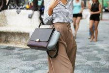 02 a striped button down, camel high waisted culottes, black shoes and a large comfy bag