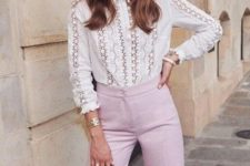 02 a white cotton lace blouse with a high neckline, long sleeves, pink  pants and a red bag