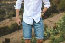 02 blue denim shorts, a white button down, white sneakers and sunglasses for a casual chic look