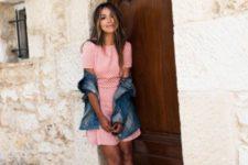 03 a pink polka dot mini dress, a denim jacket, white lace espadrilles for a boho and girlish look