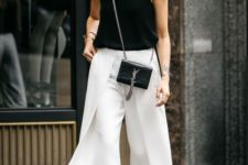 04 a black top, white culottes, black block heels and a small crossbody – just switch it to a larger tote