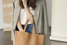 04 a camel and brown leather tote bag is a comfy and neutral idea to go to the office