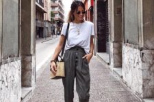 04 a white tee, graphite grey cargo pants, blush espadrilles and a small wicker bag