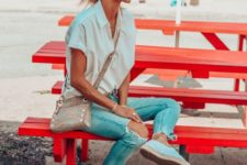 04 an oversized white button down with short sleeves, blue jeans, white espadrilles and a printed crossbody