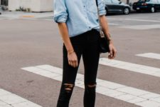 04 black ripped skinnies, an oversized chambray shirt, black block heels and a black bag