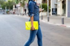 04 blue skinnies, a chambray shirt, a neon yellow clutch and matching heels