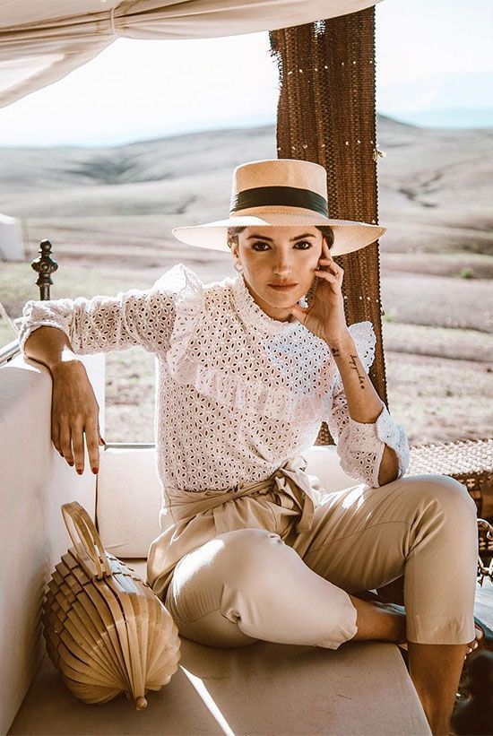 camel high waisted pants, a white cotton lace blouse, a hat and a wooden bag for a lovely summer look