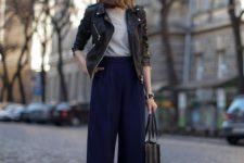 04 navy culottes, a grey tee, printed shoes, a black leather jacket and a black tote