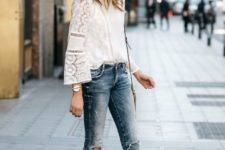 05 blue skinny jeans, a white crochet lace top with long sleeves, nude block heels and a bag