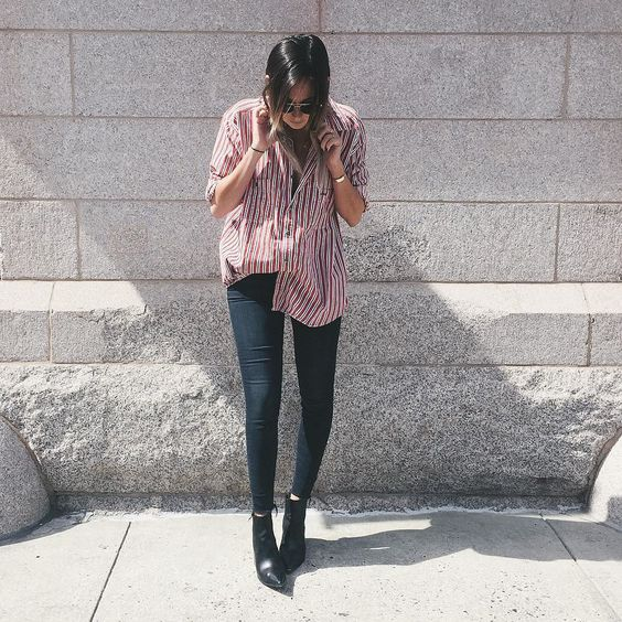 navy skinnies, black booties and an oversized red striped button down