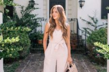 06 a blush cropped sleeveless jumpsuit, blush mules, a light pink tote for a preppy and girlish work look