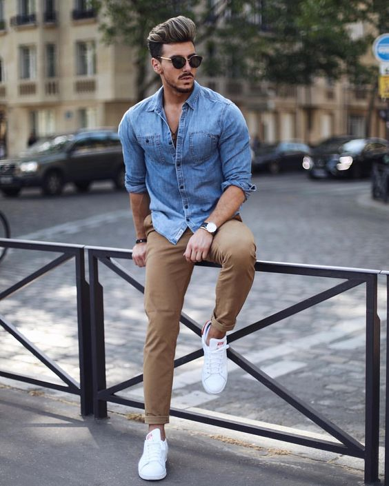 a chambray shirt, camel rolled up pants, white sneakers for a chilly summer day