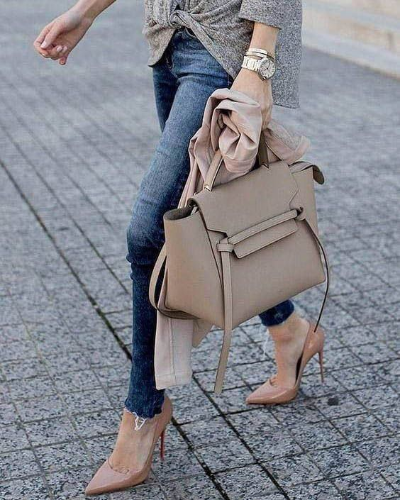 a chic neutral leather tote bag with ribbon detailing is a timeless idea that matches many outfits
