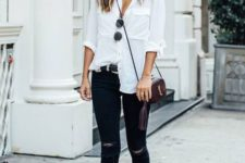 07 a comfy look with a white button down, black ripped skinnies, black mules and a burgundy bag