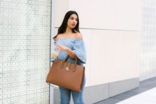 07 a large brown tote bag is a perfect idea to wear it to work and many other occasions, too