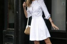 07 a white sheath dress with long sleeves, white loafers with stripes are great to go to work
