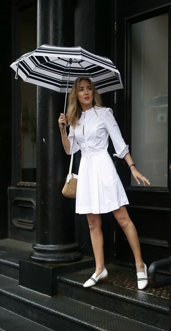 a white sheath dress with long sleeves, white loafers with stripes are great to go to work