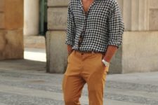 08 a checked button down, mustard pants, taupe espadrilles compose a summer casual outfit