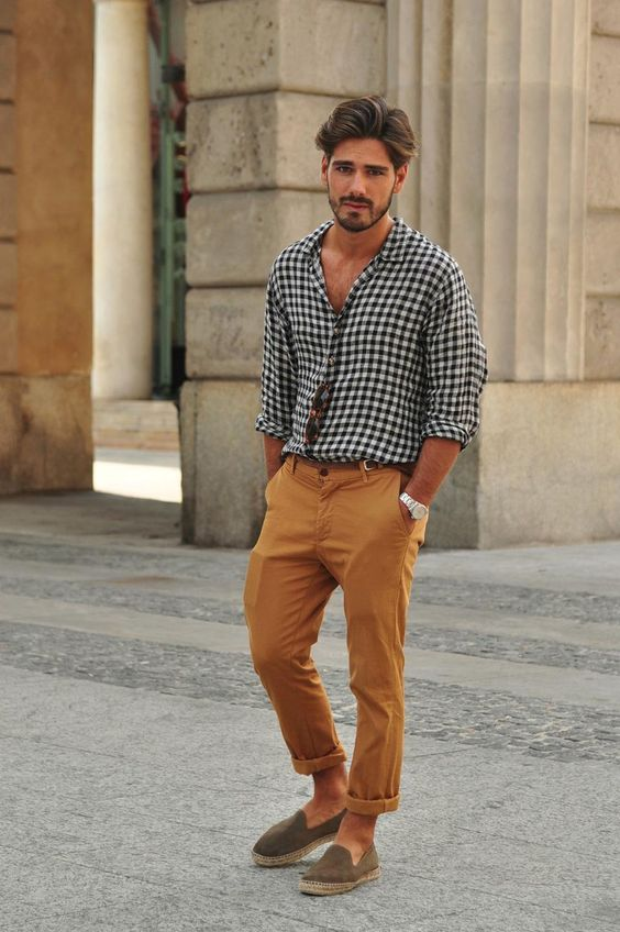 a checked button down, mustard pants, taupe espadrilles compose a summer casual outfit