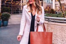 08 a large amber leather tote bag will add a colorful touch to your work outfit