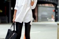 08 a white button down, black skinnies, black shoes and a large black bag