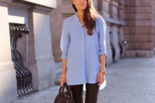 08 black leather leggings, an oversized blue button down, black birkenstocks and a brown bag