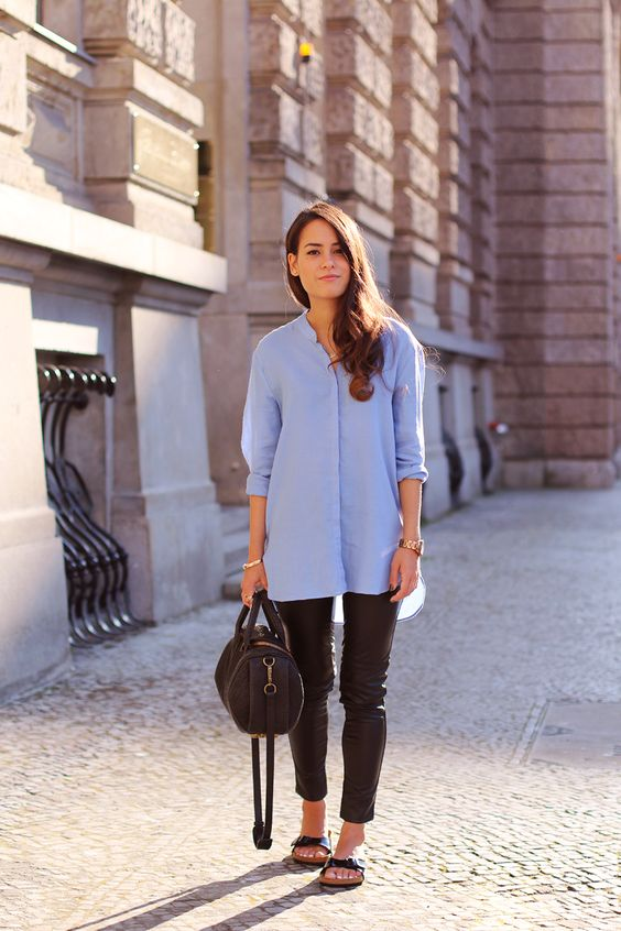 black leather leggings, an oversized blue button down, black birkenstocks and a brown bag