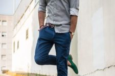 09 a grey printed button down, bright blue pants and emerald espadrilles add a touch of color