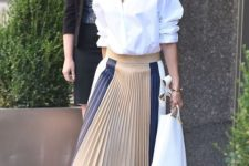 09 a modern look with a white button down, a striped pleated midi skirt, black heels and a white tote