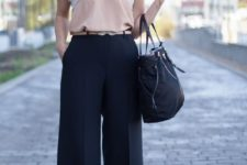 09 navy culottes, a blush top with a lace rim, nude vintage-inspired shoes and a black bag