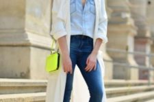 10 a chambray shirt, blue skinnies, black booties, a neutral duster and a neon yellow crossbody