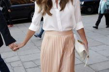 10 a striped button down, a blush pleated midi, nude heels and a white bag