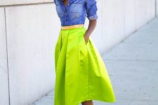 12 a chambray shirt, a neon green A-line midi skirt, nude and neon heeled sandals