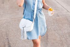 12 a chambray short dress with cap sleeves, white sneakers and a white crossbody for a casual day