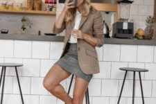 12 a white button down, a tan blazer, a grey checked skirt, white sneakers for a modern work look