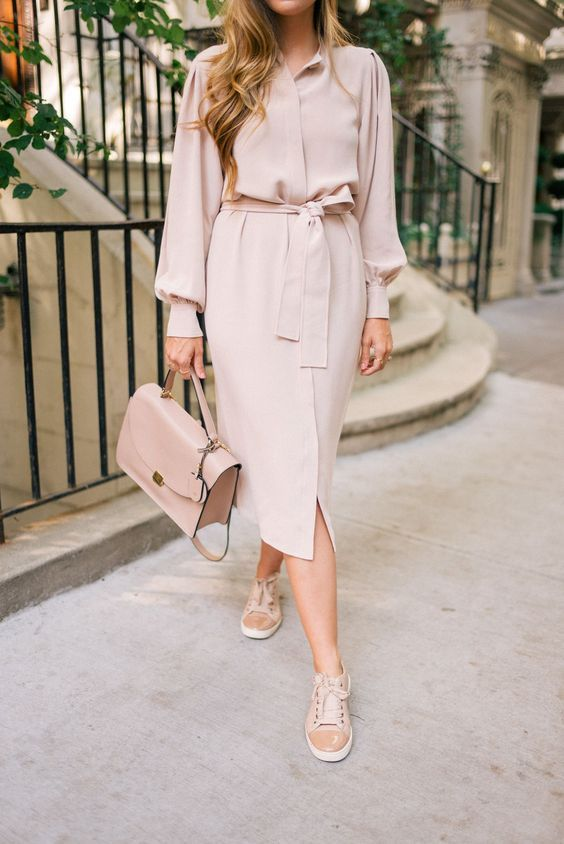 a blush shirtdress, blush sneakers and a matching bag for a tender work look