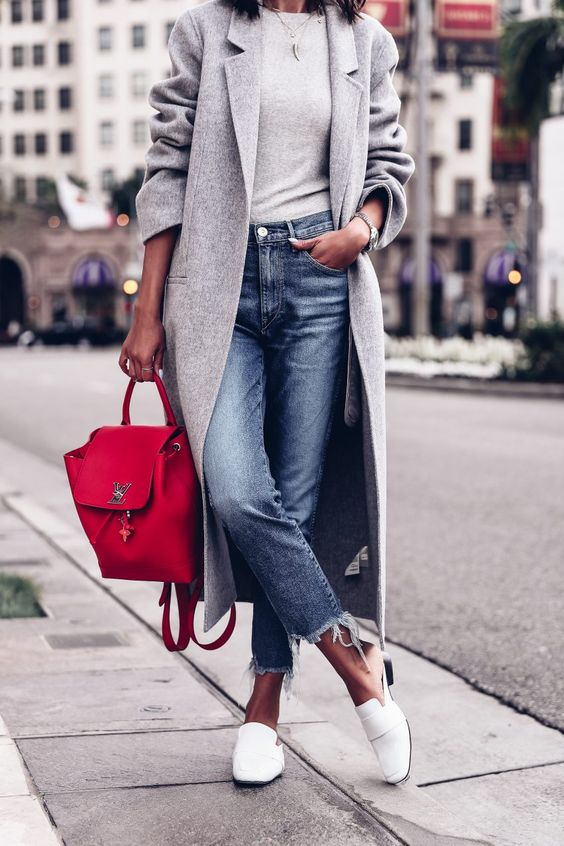 a red backpack like this one will add color and a casual feel to your outfit