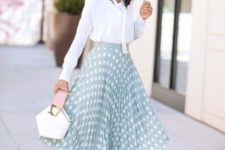 13 a white blouse with a bow, a mint green polka dot midi skirt, nude heels and a whimsy bag