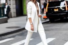 13 a white pantsuit, a tan top, white slingbacks are a ready office outfit to try