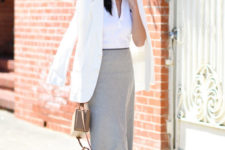 14 a white button down, a grey fitted midi skirt, white flats and a creamy blazer plus a camel bag