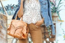 14 camel pants, a white lace top, a blue denim jacket, a camel bag for a summer look