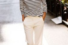14 neutral pants, a striped top, white slingbacks and sunglasses for summer