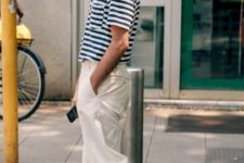 15 a striped tee, wideleg neutral pants and black slipper mules for a comfy casual outfit