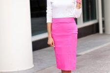 15 a white long sleeve top, a neon pink pencil skirt, neon yellow ankle strap heels